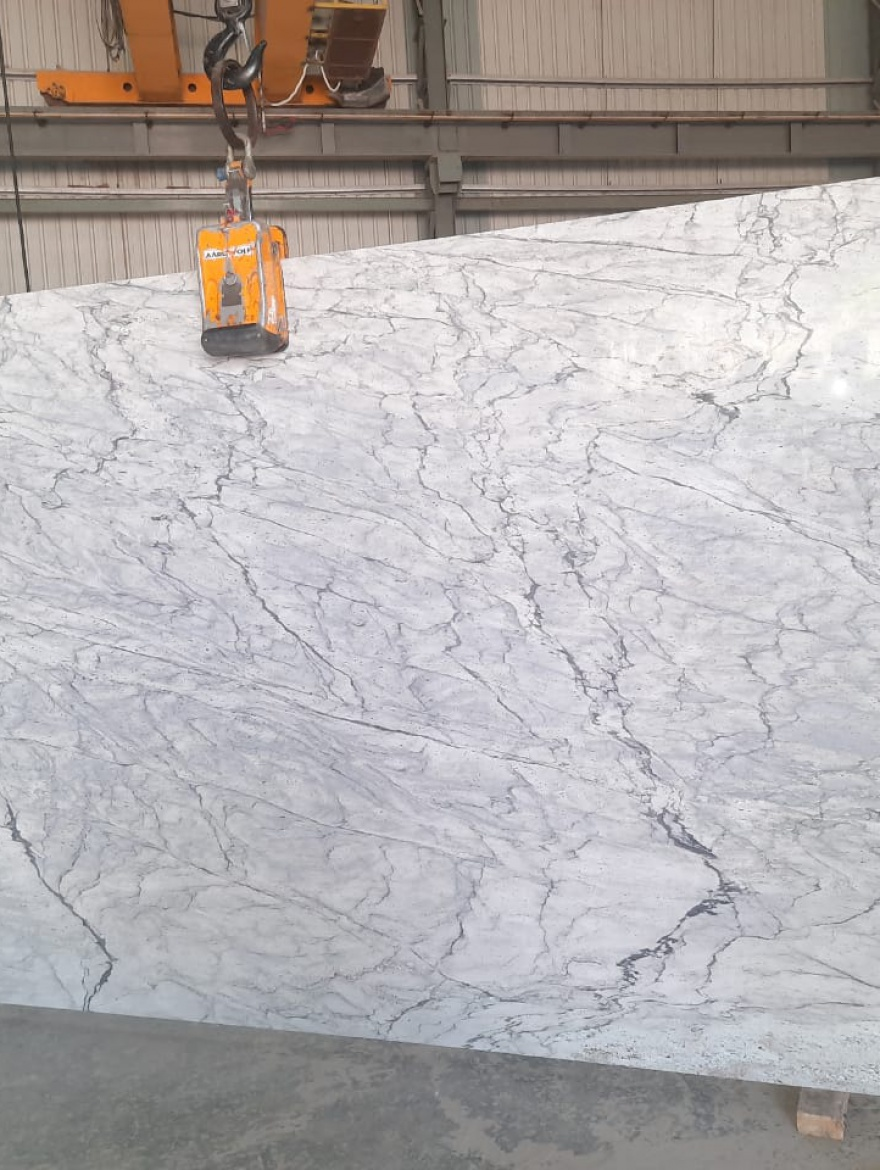 Stream White 2cm-Blk No.1151-Slab No.45